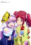 2girls :d absurdres bangs belt belt_buckle blue_dress blunt_bangs brown_belt buckle candy_apple closed_mouth cotton_candy dress eyebrows_visible_through_hair floral_print food habit hair_ornament hair_scrunchie highres holding holding_food japanese_clothes kamisama_ni_natta_hi kimono long_hair medium_hair megami_magazine multiple_girls narukami_sora nun obi official_art open_mouth print_kimono purple_hair redhead ribbon sailor_collar sash satou_hina_(kamisama_ni_natta_hi) scrunchie short_twintails simple_background smile twintails v-shaped_eyebrows veil violet_eyes white_background white_sailor_collar yellow_kimono yellow_ribbon yukata
