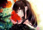 1girl amana_(pocketkey) bangs bare_shoulders black_eyes black_hair closed_mouth eyebrows_visible_through_hair eyelashes fingernails flower highres holding holding_flower long_hair long_sleeves looking_at_viewer nail_polish original red_lips red_nails rose sleeves smile