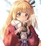 1girl blonde_hair blowing blue_eyes coat cup granblue_fantasy kingyo_114 long_hair mirin_(granblue_fantasy) scarf sleeves_past_wrists winter_clothes winter_coat yunomi