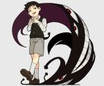 1boy black_eyes black_hair darkness eyes from_below fullmetal_alchemist male_focus open_mouth pride_(fma) selim_bradley shadow shima_(landsuzume) shirt short_hair shorts simple_background smile socks solo spoilers teeth tongue walking white_background white_shirt