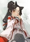 1girl animal_ears black_hair brown_eyes cat_ears commentary_request dated hakama high_ponytail japanese_clothes kantai_collection kariginu long_hair looking_at_viewer miko multi-tied_hair nisshin_(kantai_collection) one_eye_closed red_hakama red_ribbon ribbon short_eyebrows signature solo thick_eyebrows toka_(marchlizard) very_long_hair