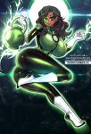 1girl ass aura black_bodysuit black_hair bodysuit boots breasts commission dark_skin dc_comics elbow_gloves facial_mark flying gloves green_eyes green_lantern green_lantern_corps green_lips highres holding jessica_cruz lantern large_breasts lips long_hair markings osiimi skin_tight sky smile space star_(sky) starry_sky thighs watermark web_address white_footwear white_gloves