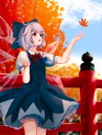 1girl :d absurdres bangs blue_bow blue_dress blue_eyes blue_hair blurry blurry_background bow bowtie breasts cirno depth_of_field dress eyebrows_behind_hair falling_leaves feet_out_of_frame fence hair_between_eyes hair_bow hanairomomiji highres ice ice_wings leaf looking_up maple_leaf open_mouth outstretched_arm petticoat puffy_short_sleeves puffy_sleeves red_bow red_neckwear short_hair short_sleeves sky small_breasts smile solo standing touhou tree wings
