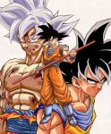 3boys abs arms_at_sides black_eyes black_hair blood blood_drip blood_from_mouth blood_on_face blue_footwear boots closed_mouth derivative_work dougi dragon_ball dragon_ball_super dragon_ball_z frown full_body grey_eyes grey_hair highres holding holding_weapon leaning leaning_forward looking_at_viewer looking_to_the_side multiple_boys multiple_persona muscle nagare_seiya nipples nyoibo official_style pectorals scratches serious shaded_face shiny shiny_hair shirt shirtless simple_background son_goku spiky_hair toriyama_akira_(style) torn_clothes torn_shirt ultra_instinct upper_body weapon white_background wristband