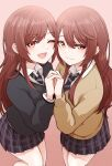 2girls :3 absurdres beige_sweater blue_neckwear brown_eyes brown_hair collared_shirt eyebrows_visible_through_hair from_above gradient gradient_background grey_jacket hair_between_eyes hands_clasped highres holding_hands idolmaster idolmaster_shiny_colors jacket long_hair looking_at_viewer multiple_girls one_eye_closed oosaki_amana oosaki_tenka open_mouth own_hands_together plaid plaid_skirt pleated_skirt school_uniform shirt siblings sidelocks skirt standing straight_hair striped striped_neckwear tokufumi twins white_shirt