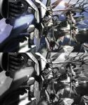 3d absurdres clenched_hands fighting flying glowing glowing_eye great_zeorymer greyscale hades_project_zeorymer highres horns lys_(hao3191570) mecha monochrome no_humans one-eyed planet single_horn space split_screen super_robot super_robot_wars super_robot_wars_judgement zeorymer