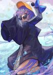 1girl absurdres animal_hood bangs bare_shoulders black_jacket blue_bow blue_eyes bow breasts choker collarbone fate/grand_order fate_(series) highres hood hood_up jacket long_hair long_sleeves looking_at_viewer looking_back meltryllis meltryllis_(swimsuit_lancer)_(fate) penguin_hood purple_hair sleeves_past_fingers sleeves_past_wrists small_breasts smile sunglasses thighs very_long_hair water xyunx