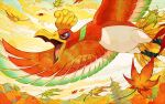 autumn_leaves building commentary_request day flying from_below gen_2_pokemon ho-oh leaves_in_wind legendary_pokemon mountainous_horizon no_humans open_mouth outdoors pokemon pokemon_(creature) red_eyes solo talons tami_yagi tongue tower