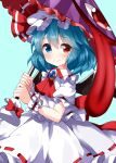 1girl ascot bangs blue_background blue_eyes blue_hair bow closed_mouth cosplay eyebrows_visible_through_hair hat heterochromia highres holding holding_umbrella jewelry karakasa_obake looking_at_viewer medium_hair mob_cap purple_umbrella red_bow red_eyes red_neckwear red_ribbon remilia_scarlet remilia_scarlet_(cosplay) ribbon ribbon-trimmed_skirt ribbon_trim ruu_(tksymkw) shirt short_sleeves simple_background skirt smile solo standing tatara_kogasa tongue tongue_out touhou umbrella white_headwear white_shirt white_skirt wrist_cuffs