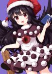 1girl bangs bird_wings black_capelet black_dress black_feathers black_hair black_wings capelet control_rod cosplay doremy_sweet doremy_sweet_(cosplay) dress eyebrows_visible_through_hair feathered_wings hat highres long_hair looking_at_viewer multicolored multicolored_clothes multicolored_dress nightcap open_mouth pom_pom_(clothes) purple_background red_eyes red_headwear reiuji_utsuho ruu_(tksymkw) simple_background smile solo standing third_eye touhou white_dress wings