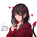 1girl absurdres bangs black_hair closed_mouth collarbone demon_girl demon_horns demon_tail earrings heart highres holding horns jacket jewelry nail_polish original red_eyes red_jacket shimmer simple_background solo tail upper_body white_background