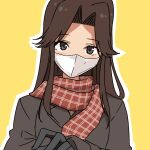 1girl alternate_costume black_gloves brown_coat brown_eyes brown_hair brown_scarf coat commentary_request facial_mask gloves hair_intakes highres jintsuu_(kantai_collection) kantai_collection long_hair looking_at_viewer masukuza_j scarf school_uniform serafuku solo winter_clothes yellow_background