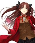 1girl black_hair blazer blue_eyes fate/stay_night fate_(series) fumi_fumi_(7837224) highres homurahara_academy_uniform jacket long_hair neck_ribbon open_clothes red_ribbon ribbon simple_background solo sweater tohsaka_rin twintails two_side_up white_background