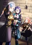 3girls alternate_costume felicia_(fire_emblem) fire_emblem fire_emblem:_three_houses fire_emblem_fates fire_emblem_heroes flora_(fire_emblem) garreg_mach_monastery_uniform highres knife maid_headdress multiple_girls pantyhose shamir_nevrand siblings sisters sukkirito_(rangusan) throwing_knife tripping weapon