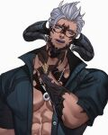 1boy abs artist_name bead_necklace beads blue_eyes buttons character_request collarbone collared_shirt commentary commission dark_skin english_commentary final_fantasy final_fantasy_xiv glasses gloves grey_hair hand_up highres horns jewelry jouvru licking_lips looking_at_viewer male_focus muscle necklace nose open_clothes open_mouth partially_fingerless_gloves pectorals purple_tongue shirt short_sleeves simple_background solo symbol_commentary tongue tongue_out upper_body watermark