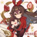 1girl absurdres amber_(genshin_impact) artist_request bangs baron_bunny brown_hair character_name crossed_bangs eyebrows_visible_through_hair flower food fruit genshin_impact gloves hair_between_eyes hairband highres holding holding_stuffed_toy long_hair long_sleeves official_art shrug_(clothing) smile sparkle strawberry stuffed_animal stuffed_bunny stuffed_toy thigh-highs white_legwear yellow_eyes