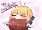 1girl =_= afterimage ahoge ahoge_wag artoria_pendragon_(all) bangs blonde_hair blue_bow blush boned_meat bow braid chibi closed_eyes dated eating expressive_hair eyebrows_visible_through_hair facing_viewer fate/stay_night fate_(series) food hair_bow highres holding holding_food i.u.y long_sleeves meat pink_background saber solo sparkle translation_request upper_body