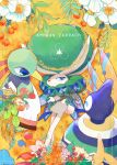 :3 beak blue_eyes branch calyrex closed_mouth commentary_request cover cover_page dericajira doujin_cover english_text flower food fruit gen_2_pokemon gen_5_pokemon gen_8_pokemon highres holding holding_branch holding_food holding_fruit leaf legendary_pokemon looking_at_viewer nature no_humans pokemon pokemon_(creature) sigilyph standing wings xatu