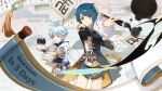 2boys absurdres aqua_eyes aqua_hair artist_request asymmetrical_bangs bangs blue_hair calligraphy_brush chinese_clothes chongyun_(genshin_impact) frills genshin_impact highres hood hood_down ink jewelry long_sleeves male_focus mouth_hold multiple_boys official_art paintbrush paper scroll shorts single_earring smile vision_(genshin_impact) xingqiu_(genshin_impact) yellow_eyes