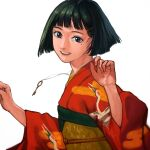 1girl :d bangs black_hair blunt_bangs blunt_ends bob_cut character_request commentary_request copyright_request face film_grain fingernails hair_ornament hairclip hands_up highres japanese_clothes key kimono kondate_(inugrm) lanyard lips looking_at_viewer mole mole_under_eye nose nostrils obi open_mouth outstretched_arms print_kimono red_kimono sash short_hair simple_background smile solo teeth violet_eyes white_background wide_sleeves yellow_sash