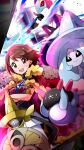1girl aegislash bangs blush brown_eyes brown_hair cape champion_uniform commentary_request crossed_arms eyelashes fur-trimmed_cape fur_trim gen_6_pokemon gen_7_pokemon gen_8_pokemon gloria_(pokemon) gloves hatterene highres inteleon leggings looking_at_viewer miyama-san multicolored multicolored_clothes multicolored_gloves open_mouth pokemon pokemon_(creature) pokemon_(game) pokemon_swsh pyukumuku red_cape short_sleeves shorts smile teeth tongue white_legwear white_shorts