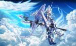 1girl absurdres axe blue_eyes clouds energy_axe floating_hair flying greatwhite1122 gundam gundam_unicorn highres holding holding_axe horns iridescent long_hair looking_at_viewer mecha_musume multicolored_hair personification revision silver_hair single_horn sky unicorn_gundam_perfectibility very_long_hair white_hair