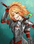 1girl armor blonde_hair blush braid clarent cowboy_shot crown_braid fate/grand_order fate_(series) french_braid gillian green_eyes highres looking_at_viewer mordred_(fate) mordred_(fate)_(all) open_mouth over_shoulder ponytail sharp_teeth short_hair smile solo teeth tongue weapon weapon_over_shoulder
