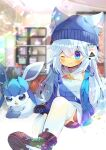 1girl :d ;) animal_ear_fluff animal_ears bangs beanie black_footwear black_shorts blue_eyes blue_headwear blue_jacket blurry blurry_background blush borrowed_character closed_mouth commentary_request depth_of_field ears_through_headwear eyebrows_visible_through_hair gen_4_pokemon glaceon hair_between_eyes hat indoors jacket knee_up kouu_hiyoyo long_hair one_eye_closed open_clothes open_jacket open_mouth original pokemon pokemon_(creature) shirt shoe_soles shoes short_shorts shorts silver_hair sleeveless sleeveless_shirt smile thigh-highs very_long_hair white_legwear white_shirt