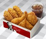 box cola colonel_sanders cup drink food fried_chicken hokkaido_(artist) ice ice_cube kfc realistic simple_background soda