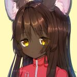 1girl animal_ears artist_name bangs blush brown_hair cat_ears cat_girl chromatic_aberration closed_mouth commentary dark_skin dark_skinned_female english_commentary expressionless eyebrows_visible_through_hair face fita_(methynecros) furry jacket light_blush long_hair looking_at_viewer methynecros original red_jacket shiny shiny_hair sidelocks simple_background solo upper_body very_dark_skin watermark yellow_background yellow_eyes zipper