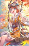 1girl :d autumn_leaves bag blue_eyes blush brown_hair chain commentary_request facial_mark feet_out_of_frame frilled_kimono frills goggles goggles_on_head hat heart highres identity_v japanese_clothes kimono leaf long_sleeves looking_at_viewer maple_leaf obi open_mouth orange_headwear orange_kimono ribbon-trimmed_kimono sash short_hair shoulder_bag sitting smile solo swing teffish tracy_reznik upper_teeth wide_sleeves