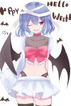 1girl alternate_costume arms_behind_back asymmetrical_sleeves bandages bat bat_wings black_legwear bow breasts choker collarbone commentary_request cowboy_shot english_text engrish_text eyebrows_visible_through_hair hair_between_eyes halloween highres long_sleeves looking_to_the_side miniskirt mirokudays navel one_eye_closed parted_lips pink_bow pink_choker puffy_short_sleeves puffy_sleeves purple_hair ranguage red_eyes remilia_scarlet see-through short_hair short_sleeves simple_background skirt small_breasts smile solo standing thigh-highs touhou white_background white_skirt wide_sleeves wings zettai_ryouiki