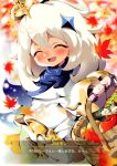 1girl aloe_(kenkou3733) apple asymmetrical_legwear basket blush cape closed_eyes dress eyelashes food fruit genshin_impact hair_between_eyes halo holding holding_basket leaf maple_leaf open_mouth paimon_(genshin_impact) pear scarf short_hair smile translated white_dress white_hair