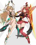 2girls blonde_hair breasts gonzarez highres large_breasts long_hair miniskirt multiple_girls mythra_(xenoblade) pyra_(xenoblade) red_eyes simple_background skirt sword weapon xenoblade_chronicles_(series) xenoblade_chronicles_2