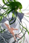 1boy chain closed_mouth enkidu_(fate/strange_fake) fate/strange_fake fate_(series) floating_hair foreshortening from_side green_eyes green_hair highres hoojiro long_hair long_sleeves male_focus outstretched_arms profile robe signature solo spread_arms standing very_long_hair white_robe wide_sleeves