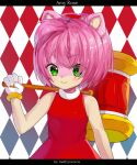 1girl ahoge amy_rose animal_ears argyle argyle_background artist_name bangs bare_shoulders blush character_name closed_mouth commentary dress eyebrows_visible_through_hair eyes_visible_through_hair flat_chest furry gloves green_eyes hairband hammer hand_up happy holding letterboxed light_blush methynecros pink_hair red_background red_dress red_hairband shiny shiny_hair short_hair simple_background sleeveless sleeveless_dress smile solo sonic_the_hedgehog standing upper_body v-shaped_eyebrows watermark white_gloves
