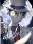 1boy absurdres bangs blue_eyes blue_shirt cape closed_mouth collared_shirt commentary_request feathers full_moon gun hair_between_eyes handgun hat highres holding jacket junkt729 kaitou_kid long_sleeves looking_at_viewer magic_kaito male_focus monocle moon necktie night red_neckwear revolver shirt short_hair smile solo top_hat upper_body weapon white_cape white_headwear white_jacket