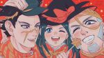 1girl 2boys :d arm_around_shoulder asirpa bandaged_head bandages black_headwear blue_eyes blush bow dated earrings golden_kamuy grey_hair hand_on_head hat hat_bow highres hoop_earrings jewelry looking_at_viewer memojogio multiple_boys one_eye_closed open_mouth poking red_background red_eyes scar scar_on_face scar_on_nose scarf shiraishi_yoshitake sideburns smile star_(symbol) sugimoto_saichi teeth wand witch_hat