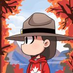 1girl animated animated_gif brown_hair canada day english_commentary hat hood hoodie medium_hair open_mouth original outdoors peargor personification red_hoodie solo tearing_up