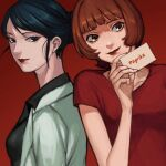 2girls asian bangs blue_eyes blue_hair blunt_bangs bob_cut breasts brown_eyes brown_hair card character_request closed_mouth collarbone commentary copyright_name earrings holding jewelry kondate_(inugrm) lipstick looking_at_viewer makeup multiple_girls nose paprika red_background red_lips red_shirt shirt short_hair short_sleeves sidelocks simple_background smile stud_earrings swept_bangs