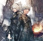 1boy 1girl black_dress black_gloves black_hairband black_jacket boots choker cleavage_cutout clothing_cutout commentary_request dress feather-trimmed_sleeves feather_trim fire gloves hairband highres holding holding_sword holding_weapon jacket juliet_sleeves long_sleeves machinery mole mole_under_mouth nier_(series) nier_automata no_blindfold outdoors patterned_clothing puffy_sleeves short_hair shukei smoke square_enix sword thigh-highs thigh_boots weapon white_hair wreckage yorha_no._2_type_b yorha_no._9_type_s