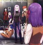 4girls bangs black_hair black_sweater blue_hair breasts denim emiya_shirou fate/stay_night fate_(series) glasses highres homurahara_academy_uniform illyasviel_von_einzbern jeans large_breasts long_hair long_sleeves matou_sakura matou_shinji multiple_girls open_mouth pants purple_hair redhead rider short_hair siya_ho smile sweater tohsaka_rin very_long_hair violet_eyes white_hair