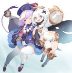 2girls akira0171 arm_grab blue_eyes cape dress genshin_impact hair_between_eyes halo hat jewelry looking_at_viewer multiple_girls necklace one_eye_closed open_mouth paimon_(genshin_impact) qiqi scarf short_hair thigh-highs white_dress white_hair