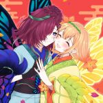 2girls :d black_gloves blush butterfly_wings cheek-to-cheek closed_eyes facial_mark fairy_wings fingernails fire_emblem fire_emblem_heroes gloves hair_over_one_eye hair_vines highres japanese_clothes kimono misato_hao multicolored_hair multiple_girls open_mouth peony_(fire_emblem) plant pointy_ears purple_hair sash shimekazari signature smile thorns triandra_(fire_emblem) vines violet_eyes wings