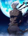 1boy absurdres bandaged_arm bandages battle_damage belt black_shirt blood blood_on_face bruise bruise_on_face cuts damaged garou_(one-punch_man) hands_in_pockets highres injury male_focus moon night night_sky one-punch_man pants pointy_hair shirt sky smile torn_clothes torn_shirt white_hair white_pants yellow_belt yellow_eyes yngh2445