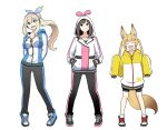 3girls ^_^ ^o^ alternate_costume animal_ears arms_behind_back bell bike_shorts black_footwear black_pants black_shorts blonde_hair blue_eyes blue_footwear blue_hoodie blush bow breasts brown_hair casual closed_eyes commentary fake_animal_ears flat_chest fox_ears fox_tail full_body geriyarou hair_bow hair_ornament hairclip hands_in_pockets headphones hood hoodie kemomimi_oukoku_kokuei_housou kizuna_ai kizuna_ai_inc. long_hair looking_at_viewer medium_breasts medium_hair mikoko_(kemomimi_oukoku_kokuei_housou) mirai_akari mirai_akari_project multicolored_hair multiple_girls open_mouth pants pink_hair pink_hoodie ponytail rabbit_ears shoes short_shorts shorts simple_background sleeves_past_fingers sleeves_past_wrists small_breasts smile sneakers standing streaked_hair striped striped_pants sweatpants tail twintails vertical-striped_pants vertical_stripes virtual_youtuber white_background yellow_hoodie zipper