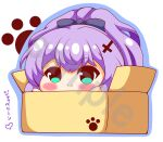 1girl absurdres azur_lane big_head black_bow blue_outline blush bow box cardboard_box chibi closed_mouth commentary_request green_eyes hair_bow hair_ornament high_ponytail highres in_box in_container javelin_(azur_lane) kurukurumagical looking_at_viewer outline ponytail purple_hair sample smile solo translation_request watermark white_background
