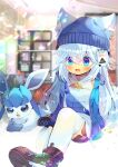 1girl :d animal_ear_fluff animal_ears bangs beanie black_footwear black_shorts blue_eyes blue_headwear blue_jacket blurry blurry_background blush borrowed_character depth_of_field ears_through_headwear eyebrows_visible_through_hair gen_4_pokemon glaceon hair_between_eyes hat indoors jacket knee_up kouu_hiyoyo long_hair open_clothes open_jacket open_mouth original pokemon pokemon_(creature) shirt shoe_soles shoes short_shorts shorts silver_hair sleeveless sleeveless_shirt smile thigh-highs very_long_hair white_legwear white_shirt