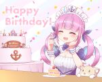 1girl absurdres ahoge anchor_symbol birthday blush cake cat character_doll closed_eyes commentary_request drill_hair food fork hair_ornament hand_on_own_face happy_birthday highres hololive kgo555 maid_headdress minato_aqua murasaki_shion nakiri_ayame oozora_subaru plate solo table twin_drills virtual_youtuber yuzuki_choco
