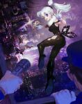 1girl bangs black_bodysuit black_footwear bodysuit bright_pupils bug butterfly city cityscape crown earrings flashlight gloves high_heels insect jewelry long_hair one_eye_closed original pointy_ears ponytail solo_focus teeziro violet_eyes w white_gloves white_hair white_pupils